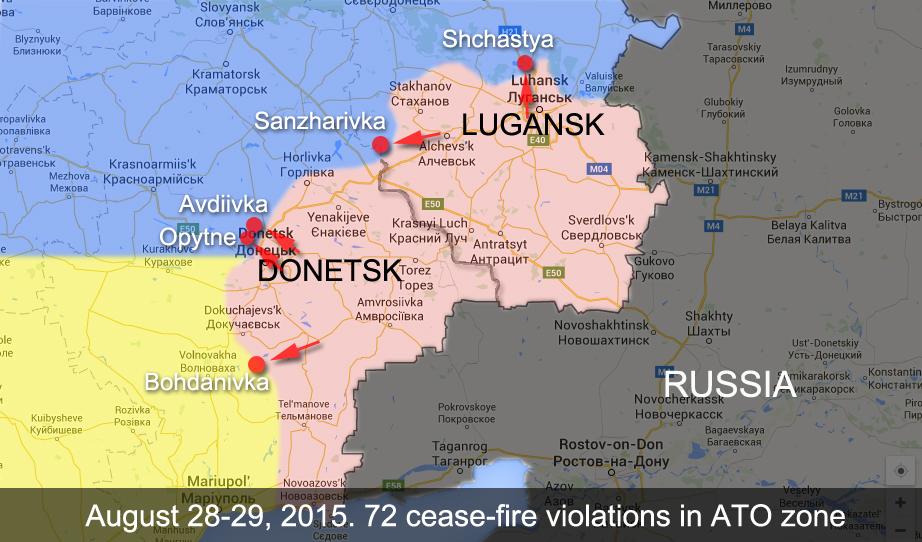 The map of ATO zone in Donetsk and Lugansk Regions of Ukraine