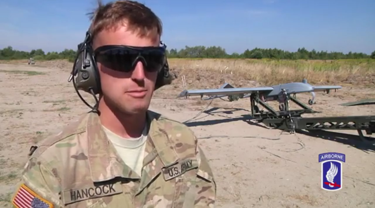 Sgt. Preston Hancock launching Shadow RQ-7B drone in Ukraine