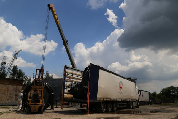 ICRC delivered pipes to restore water supply on DPR controlled territory