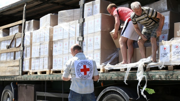ICRC brought humanitarian aid to Illovaisk occupied by DPR insurgents
