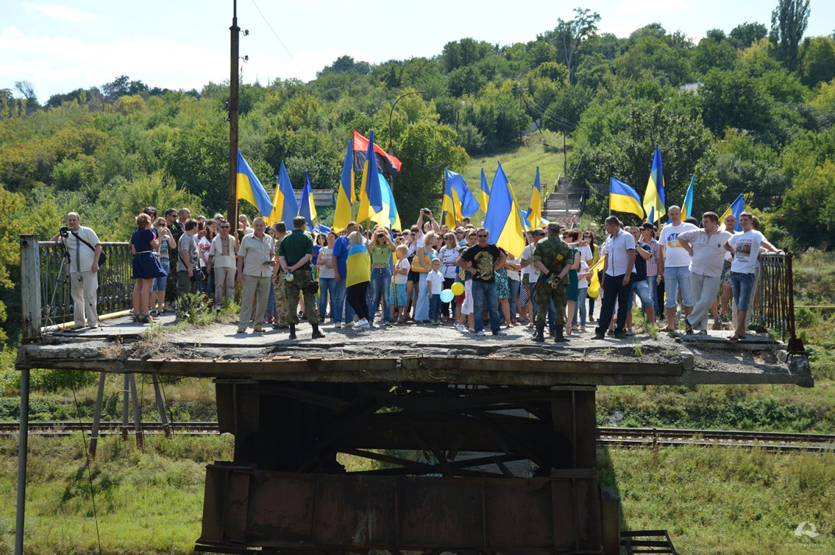 Ukrainian flag connected people of Lysychansk and Severodonetsk