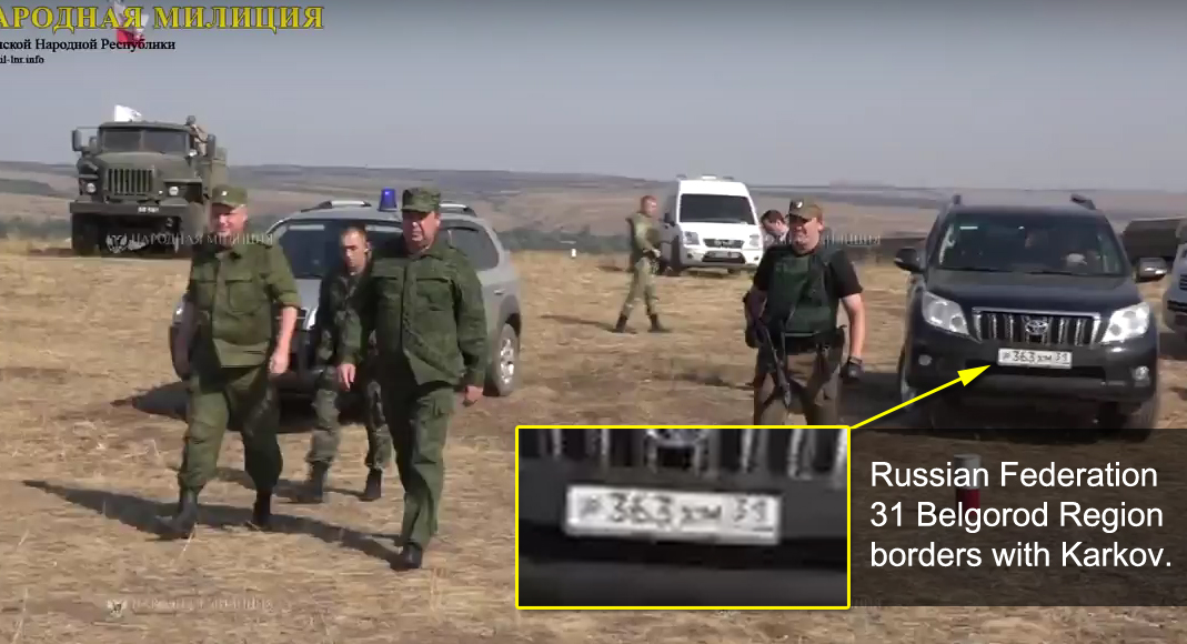 Russia car from Belgorod on the military training near Lugansk