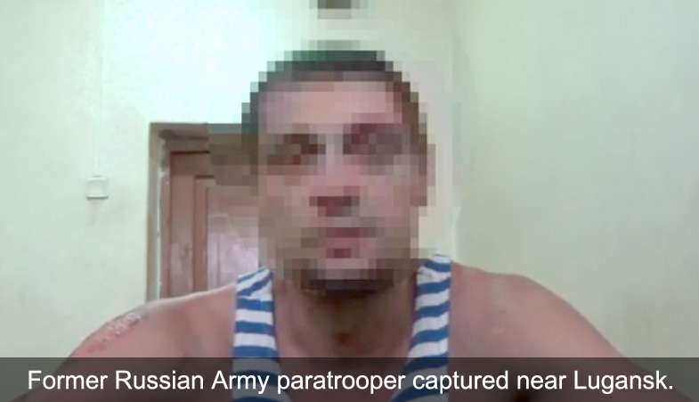 Russian paratrooper veteran captured in Ukraine near Lugansk.