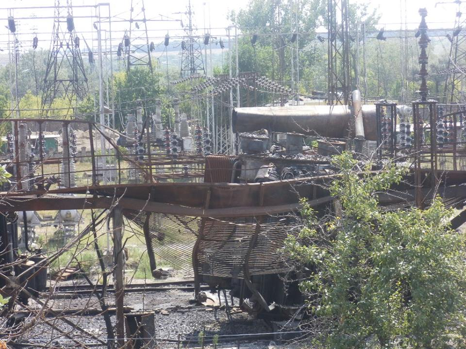 Destruction at Power Plant in Shchastya