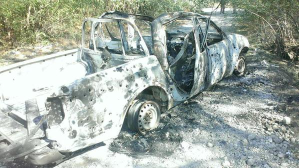 Ukrainian vehicle after attack