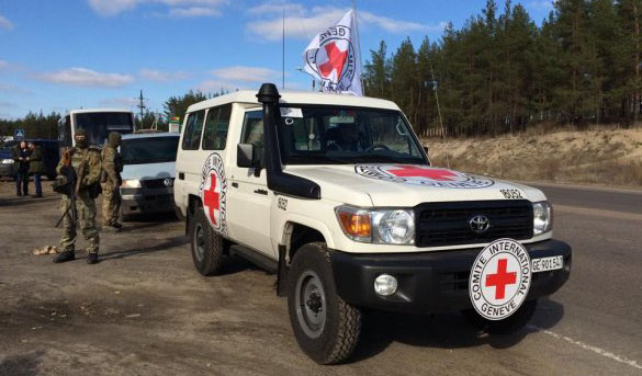 ICRC in Lugansk Region during POWs exchange