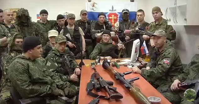 "Members of ""Russian Orthodox Army"" signing rap"