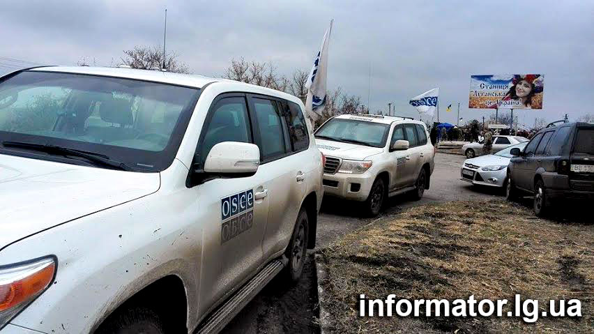 OSCE at the checkpoint in Stanytsia Luhanska