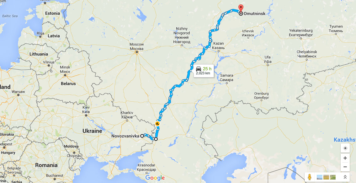 Distance from Omutninsk to Novozvanivka