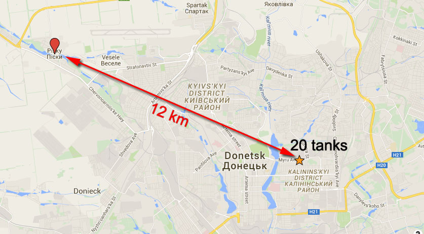 20 tanks in Donetsk that were not withdrawn from the contact line