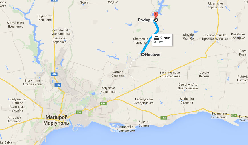 Distance between Hunove and Pavlopil