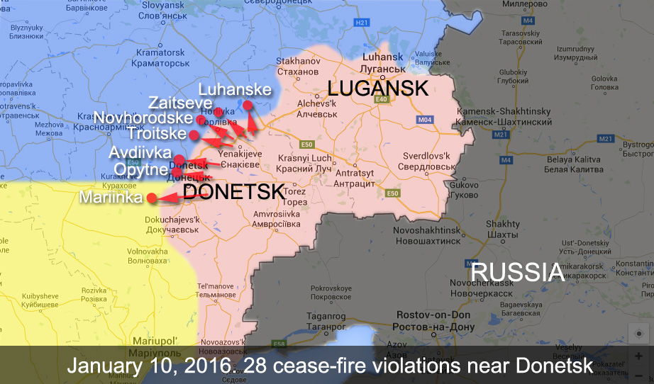 Map of cease-fire violations near Donetsk in the last 24 hours
