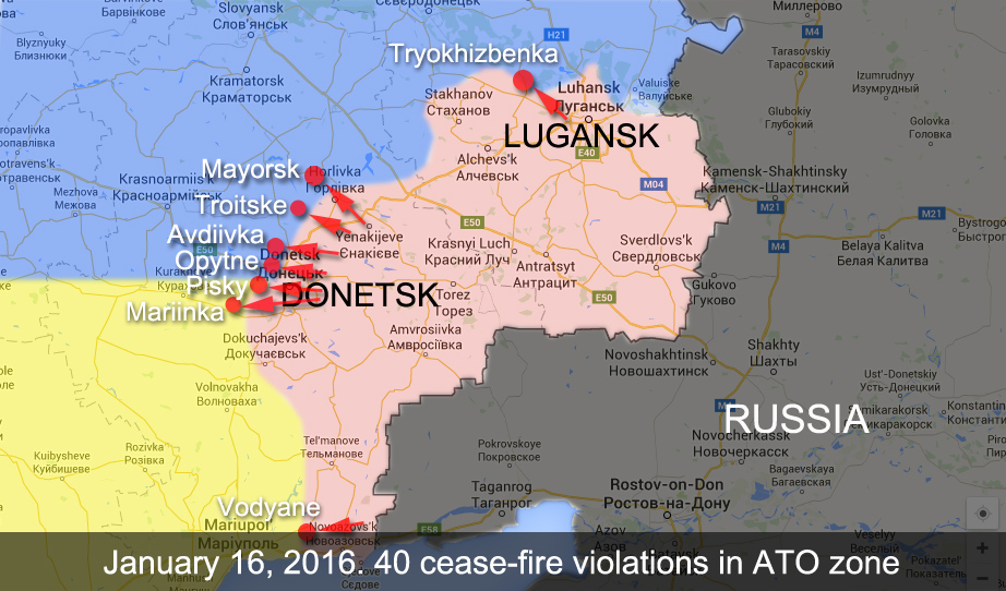 Map of attacks on Ukrainian positions in ATO zone in the last 24 hours
