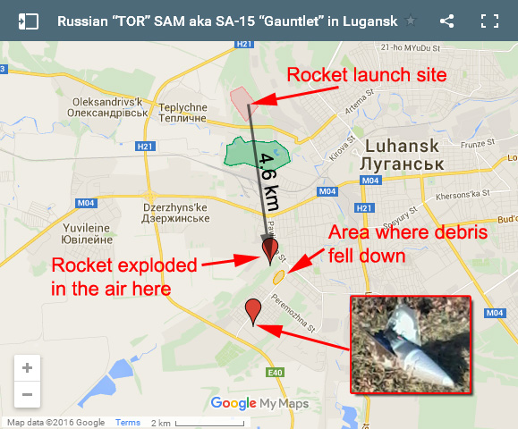 "Map that shows ""TOR"" SAM launch site, explosion coordinates and head of the rocket"