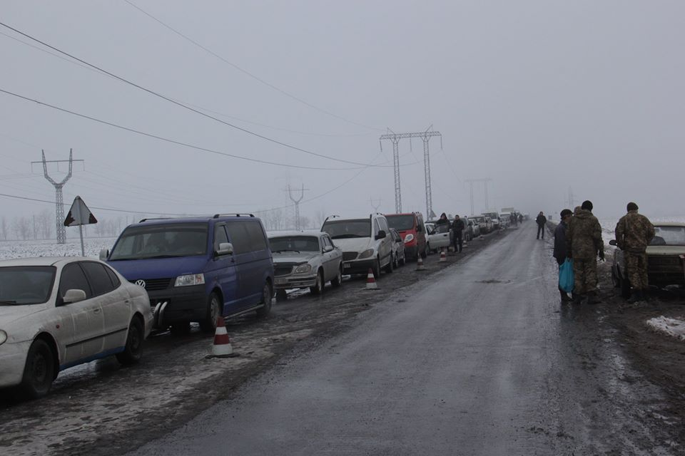 "People going through ""Mariinka"" checkpoint in Donetsk Region"