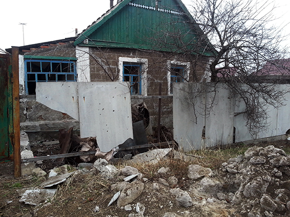 Damaged house in Avdiivka