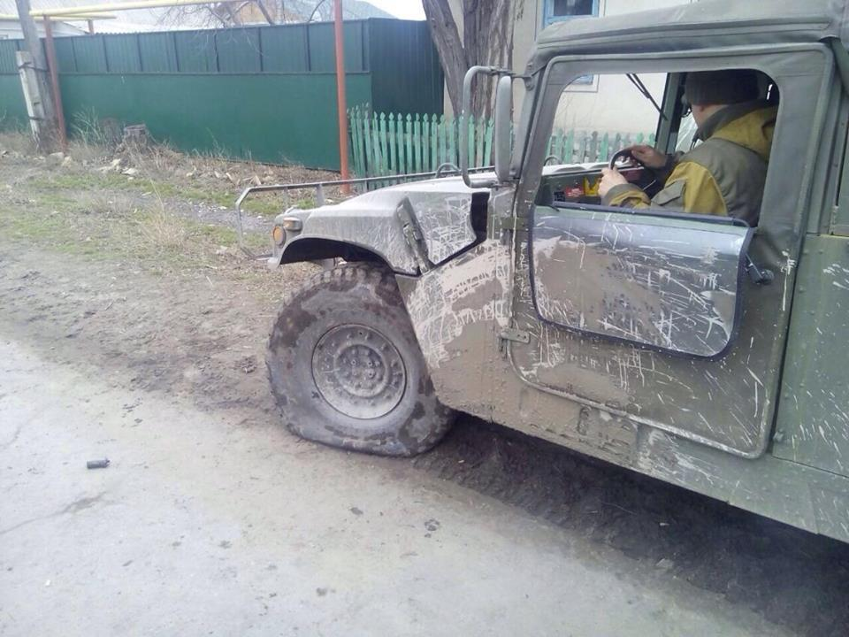 Vehicle of joint mobile group after RPG attack