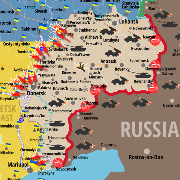 Map of attacks on Ukrainian Army positions in ATO zone posted on March 13 2016