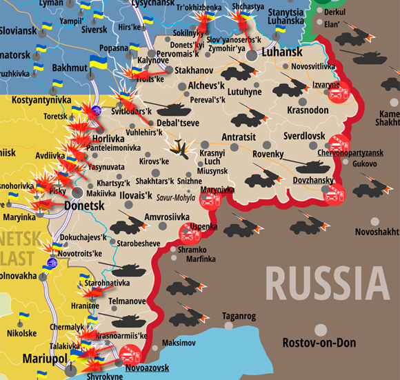 Map of attacks on Ukrainian Army positions posted on April 10 2016