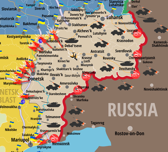 Map of attacks in the East of Ukraine in the last 24 hours