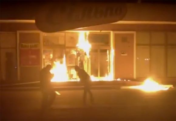 "April 20 2014 a group of pro-Russian terrorist burnt ""Silpo"" supermarket in Odessa throwing Molotov cocktails"