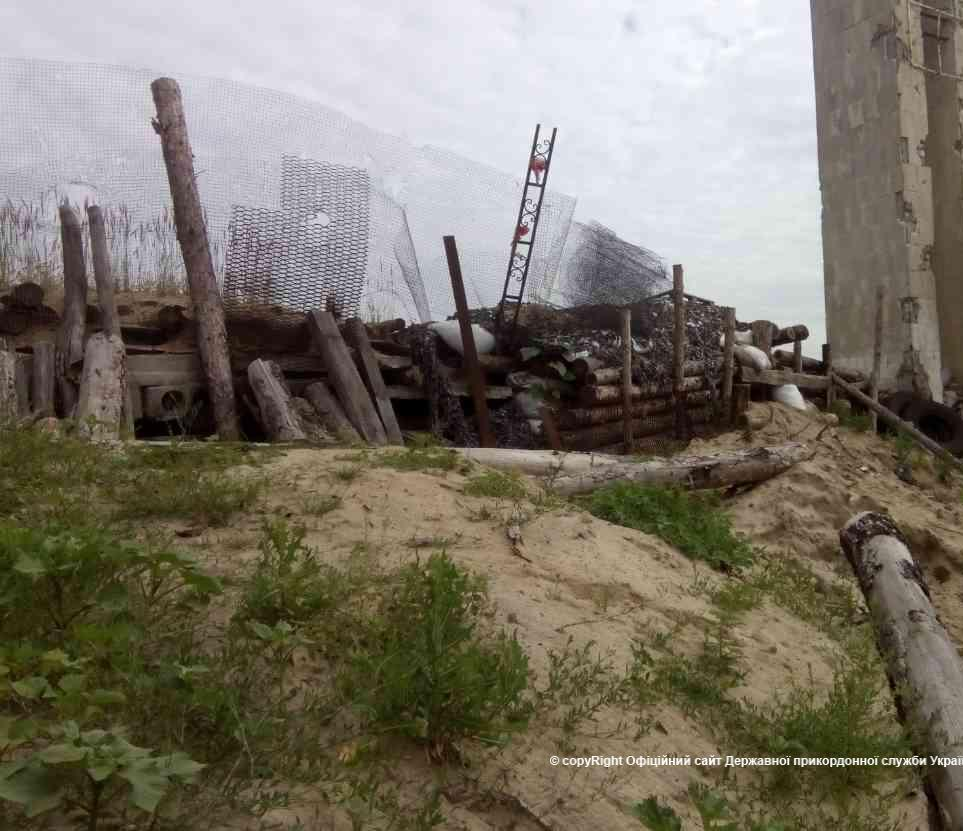 Damaged Ukrainian fortifications at Stanytsia Luhanska